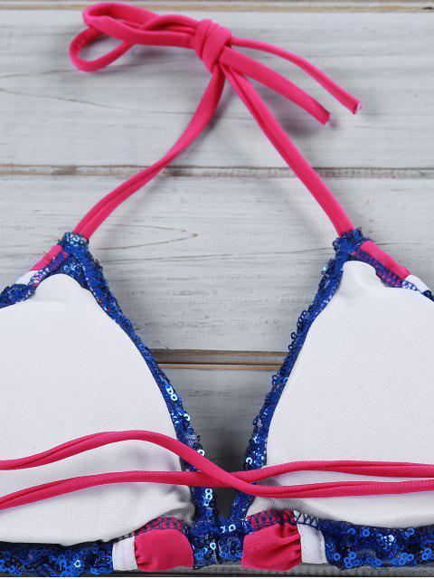 womens Ruffles Spliced Spaghetti Straps Bikini Set - BLUE M Mobile