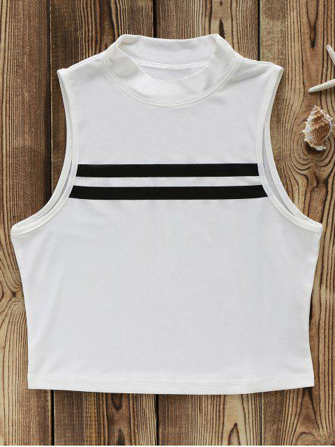 sale Short Fitted Hit Color Stand Neck Tank Top - WHITE 2XL Mobile