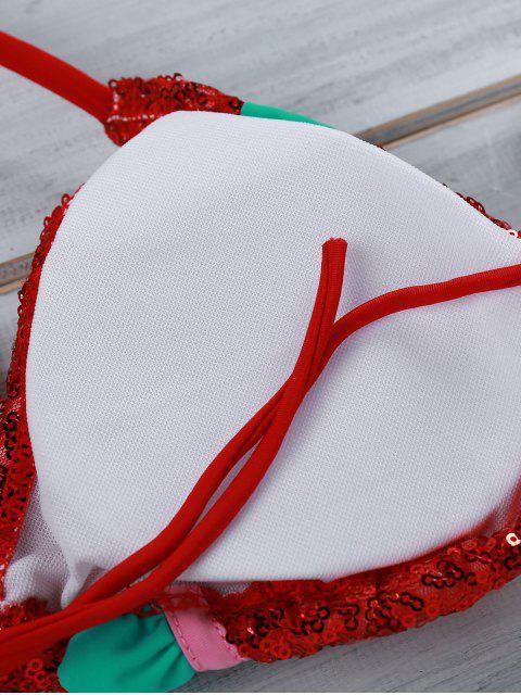 unique Ruffles Spliced Spaghetti Straps Bikini Set - RED M Mobile