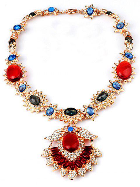 Collar de la joyería de la flor - Rojo  Mobile