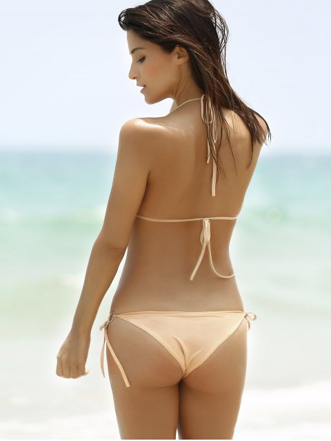 women's Fashionable Halter Push-Up Sequins Embellished Women's Bikini Set - GOLDEN XL Mobile