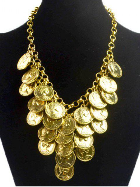 womens Round Portrait Coin Golden Necklace - GOLDEN  Mobile