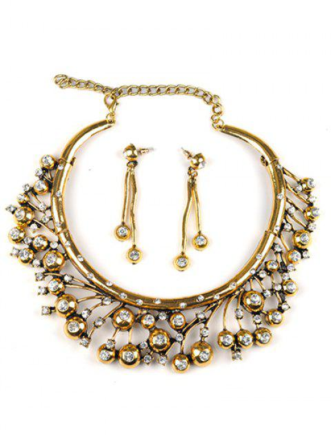 women's Rhinestone Tree Branch Necklace and Earrings - GOLDEN  Mobile