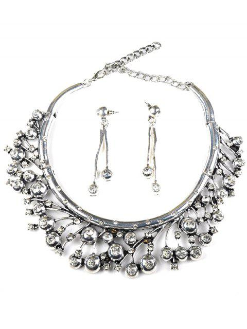 ladies Rhinestone Tree Branch Necklace and Earrings -   Mobile