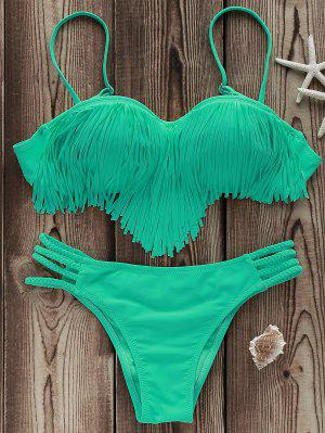 Tassels Spliced Spaghetti Straps Solid Color Bikini Set - Light Green L