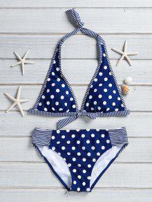 Polka Dot Stripe Spliced Halter Bikini Set - Blue S