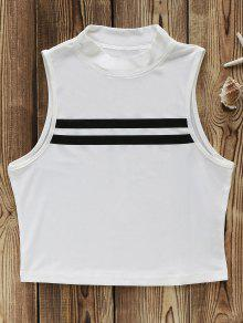 Short Fitted Hit Color Stand Neck Tank Top - White 2xl