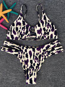 Leopard Spaghetti Strap Bikini Set - Leopard S