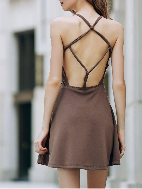 Color sólido sin espalda vestido de cuello redondo - Marrón Claro S