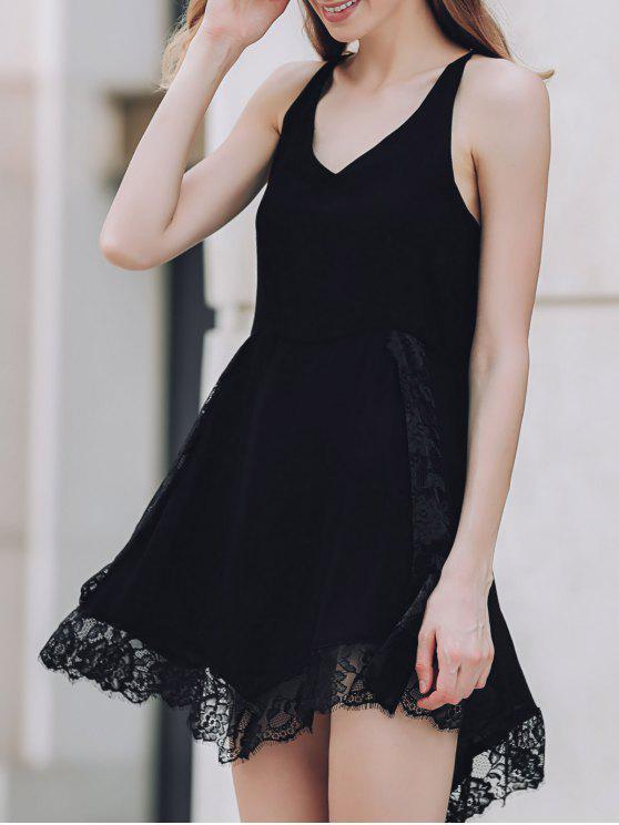 الفستان بلا متماثل مع الرباط والهدب والياقة الغاطسة - أسود L