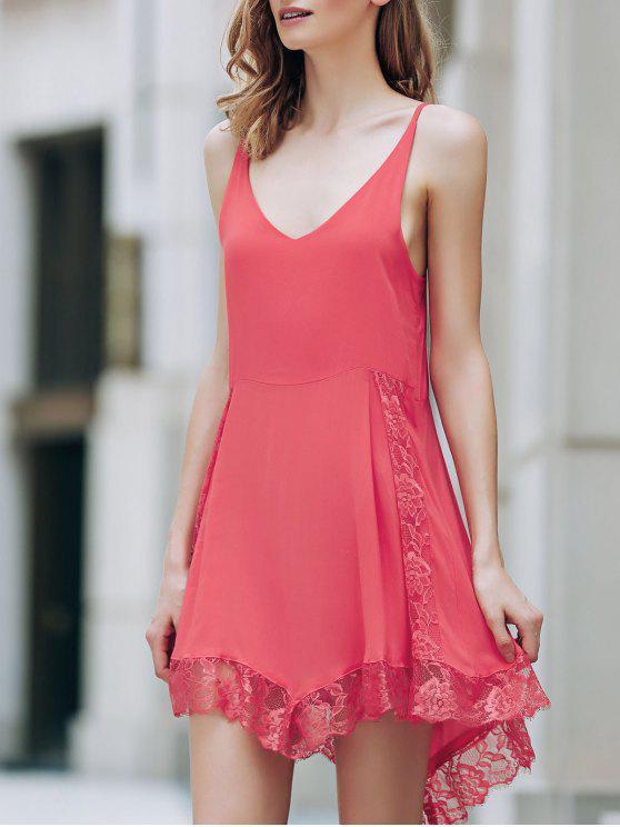 الفستان بلا متماثل مع الرباط والهدب والياقة الغاطسة - أحمر L