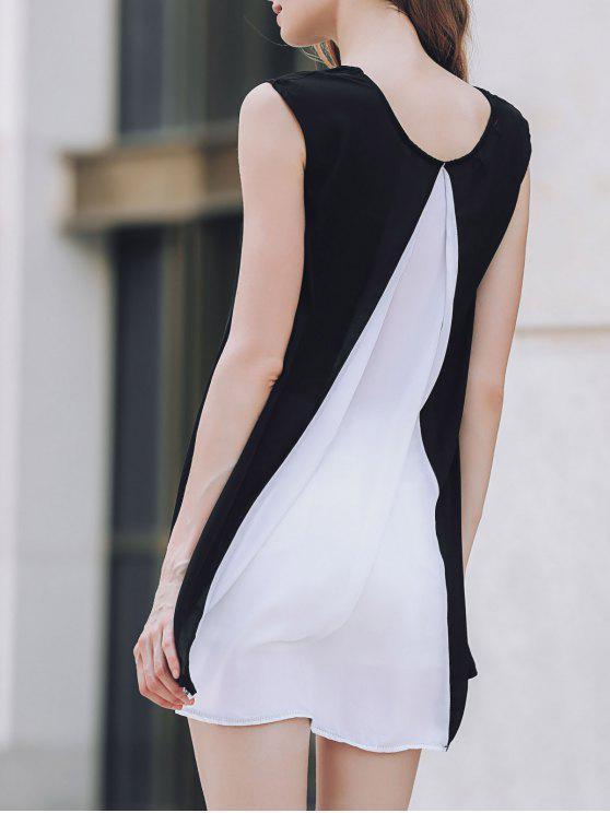 Manga del casquillo del color del golpe del vestido de la gasa - Blanco y Negro M