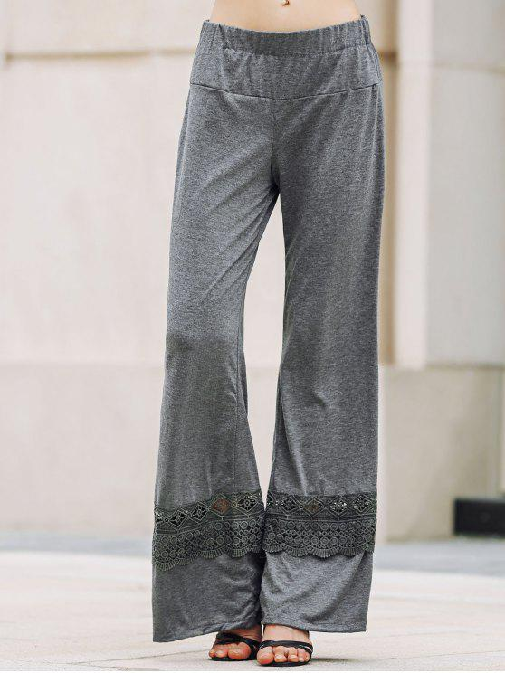 lady Solid Color Lace Spliced High Waist Wide Leg Pants - GRAY S