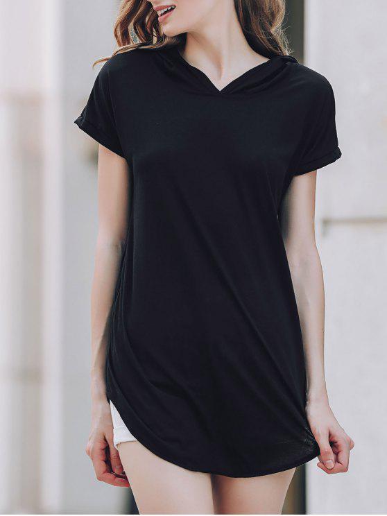 outfit Hooded Pocket Design T-Shirt - BLACK L