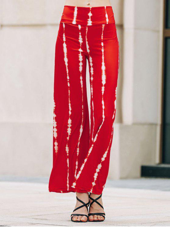 Rayas anchas de la pierna de los pantalones Palazzo - Sandia Roja L