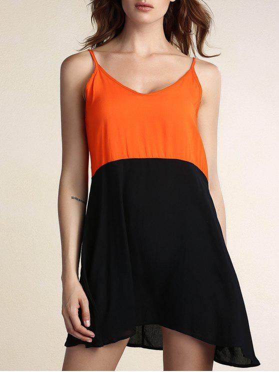 fashion Two Tone Open Back Slip Casual Dress - BLACK S