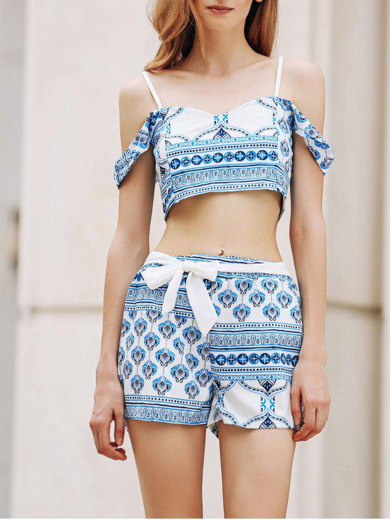 fashion Printed Spaghetti Straps Crop Top and Shorts Twinset - BLUE AND WHITE XL