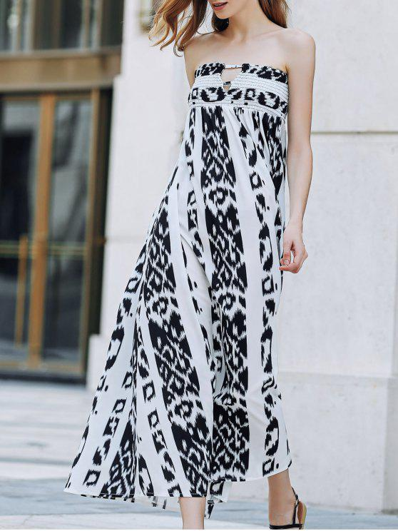 fancy Bohemian Bandeau Print Maxi Dress - WHITE AND BLACK XL