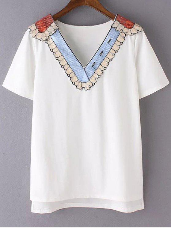 unique Sequined Neckline T-Shirt - WHITE S