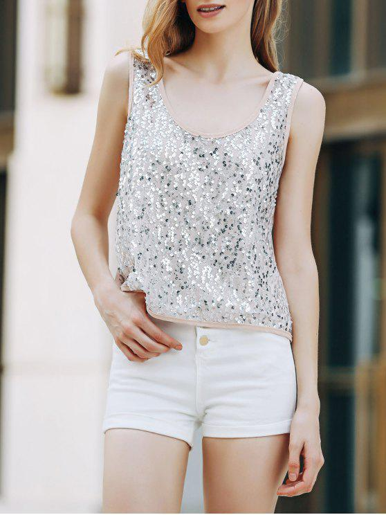 affordable Sequins Scoop Neck Tank Top - APRICOT S