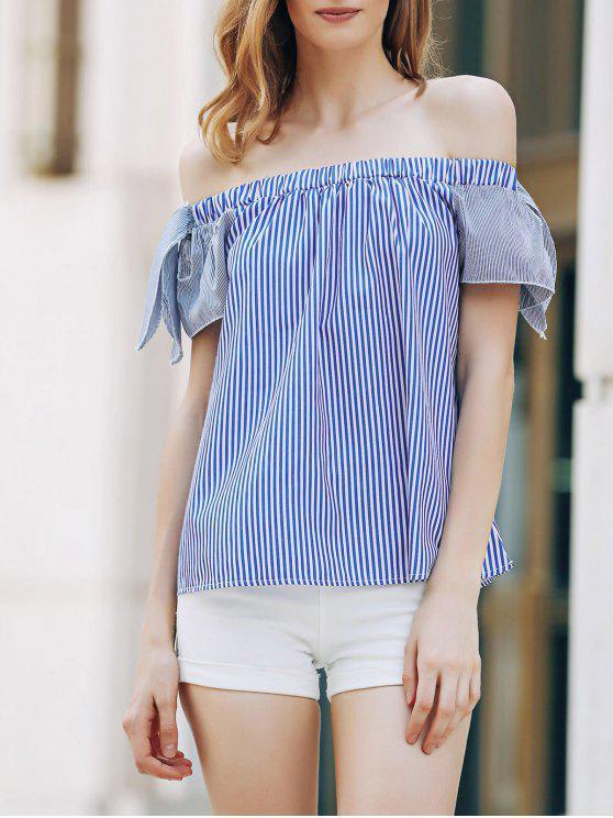 Vrac rayé à manches courtes Off The T-shirt de l'épaule - Bleu XL