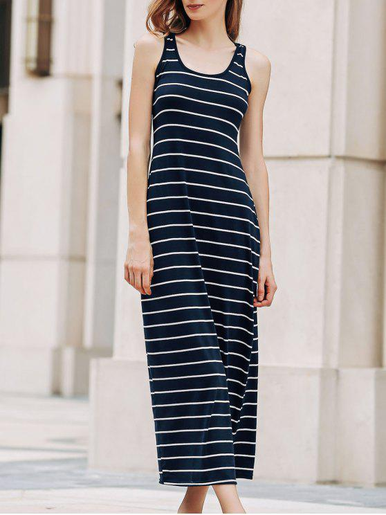 Streifen schulterfrei U-Ausschnitt Sundress - Azurblau XL