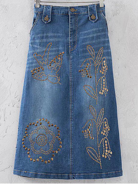 Embellecido una línea-dril de algodón de la falda - Azul S