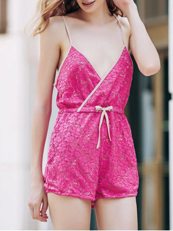 Rose Red Lace Cami Playsuit - Rosa XL