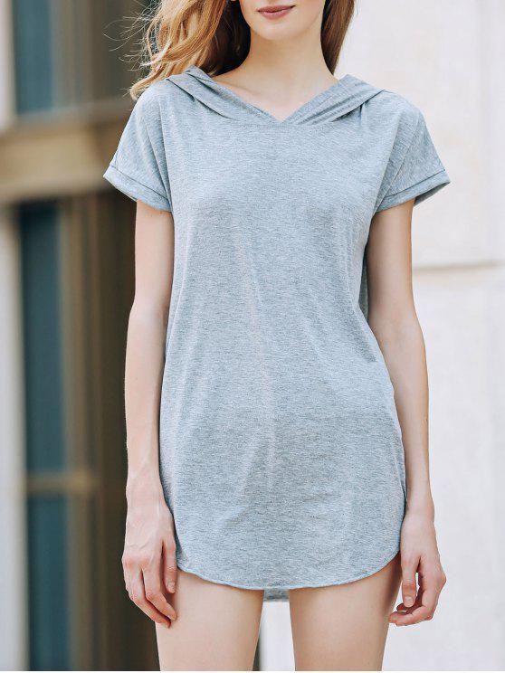 fashion Hooded Pocket Design T-Shirt - GRAY XL