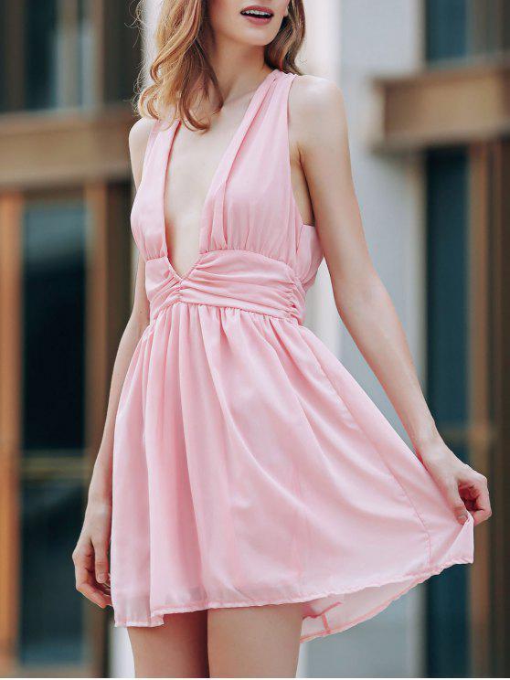 fancy Back Crossed Plunging Neckline Cut Out Dress - PINK M