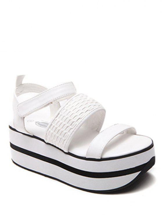 affordable Platform Solid Colour Sandals - WHITE 38