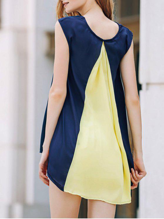 Manga del casquillo del color del golpe del vestido de la gasa - Azul y amarillo M