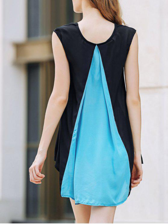 online Cap Sleeve Hit Color Chiffon Dress - BLUE AND BLACK M