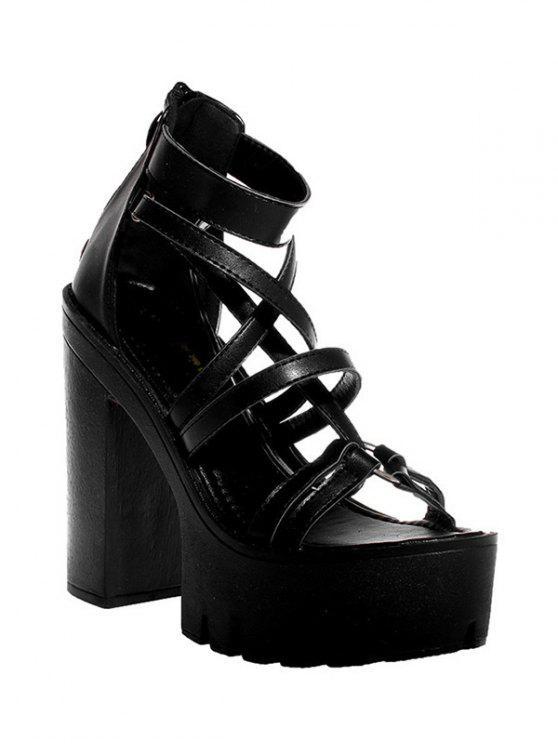Plataforma negro sandalias de tacón Chunky - Negro 38