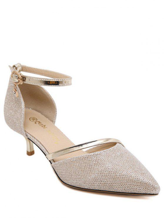 outfit Two-Piece Sequied Cloth Pointed Toe Pumps - GOLDEN 37