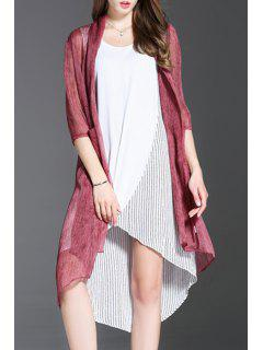 Three Quarter Sleeve Solid Color Cardigan - Rouge Vineux  Xl