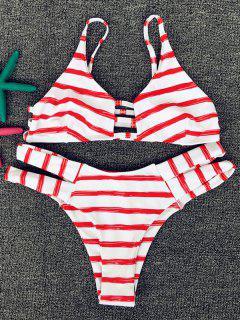 Rayado Rojo Cami Set Bikini - Rojo Xl