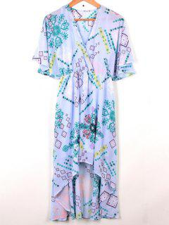 Cross-Over Chiffon Dress - Light Blue M