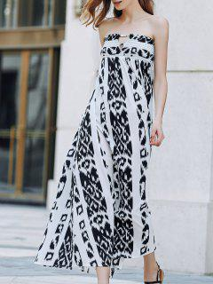 Bohemian Bandeau Print Maxi Dress - White And Black Xl