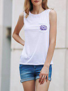 Printed Casual Round Collar Pocket Tank Top - White M