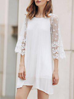 Openwork Round Collar 3/4 Sleeve Lace Spliced Dress - White Xl