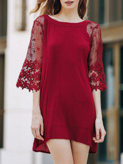 Openwork Round Collar 3/4 Sleeve Lace Spliced Dress - Wine Red Xl