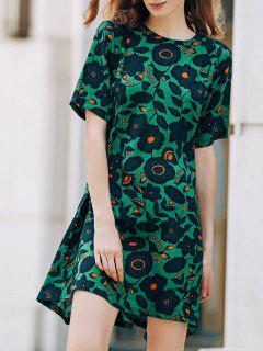 A-Line Printed Short Sleeve Dress - Green L