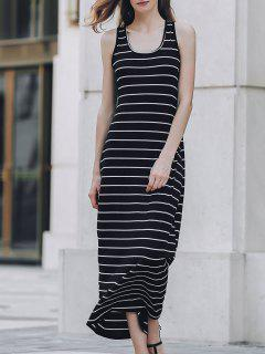Stripe Racerback U Neck Sundress - Black S