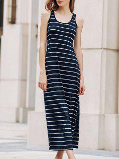 Stripe Racerback U Neck Sundress - Sapphire Blue L