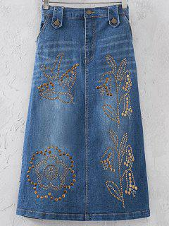 Embellished A-Line Denim Skirt - Blue S