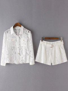 Openwork Lace Shirt And Shorts - White S