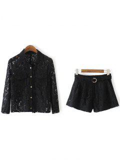 Openwork Lace Shirt And Shorts - Black S