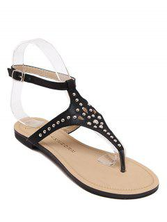 Rivet Flat Heel Flip-Flop Sandals - Black 39