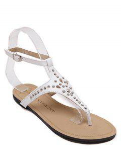 Rivet Flat Heel Flip-Flop Sandals - White 39